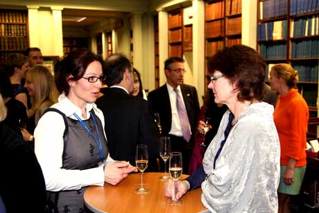 Networking during the drinks reception