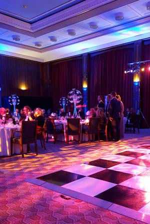 The dance floor and dinner tables